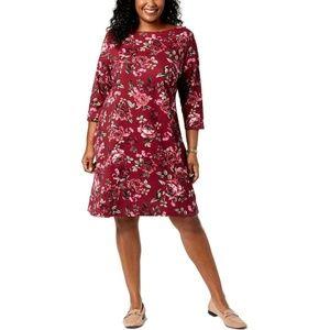 Women's Plus Daphne Red Floral Casual Shift Dress